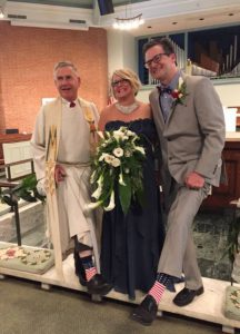 Eric & Pastor with their Patriotic Socks
