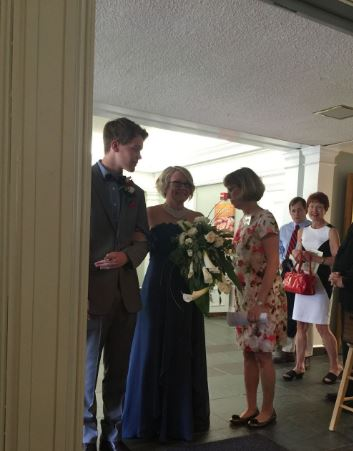Jen getting ready to walk down the aisle with her son Jake escorting her