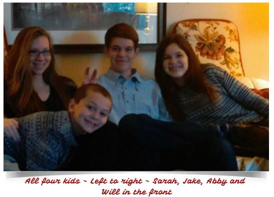 All four kids - left to right - Sarah, Jake, Abby and Will in the front